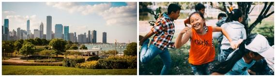 Collage -Chicago skyline, children playing