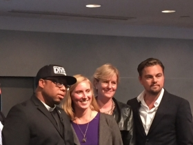 Photo of Divest Invest Press Event: from left to right, Rev. Lennox Yearwood, May Boeve, Ellen Dorsey & Leonardo DiCaprio
