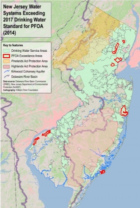NJ Water Systems Exceeding 2017 Drinking Water Standard for PFOA