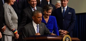 President Obama signs the Frank R. Lautenberg Chemical Safety for the 21st Century Act last year.