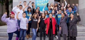 Dolores Huerta (front row, 3rd from right) and community activists from the San Joaquin Valley.